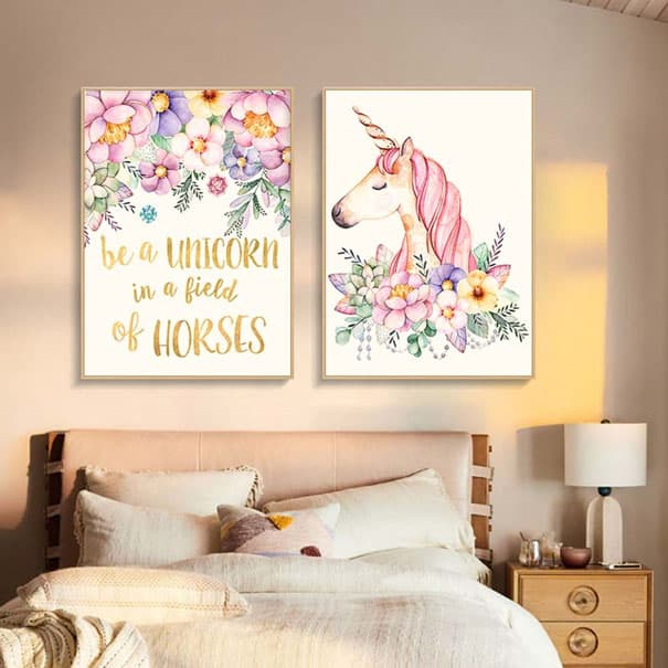 Une chambre sur le thème de la licorne